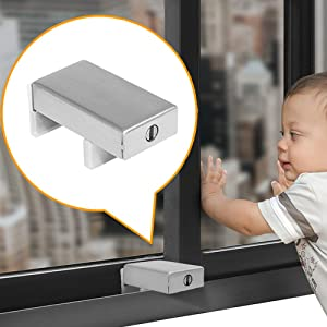 2 Pack Sliding Window Security Locks with Keys, Aluminum Alloy Window Wedge Safety Lock, Windows Guard Stopper, Anti Theft Children Door Frame Stop Bars for Home and Office Child Safety