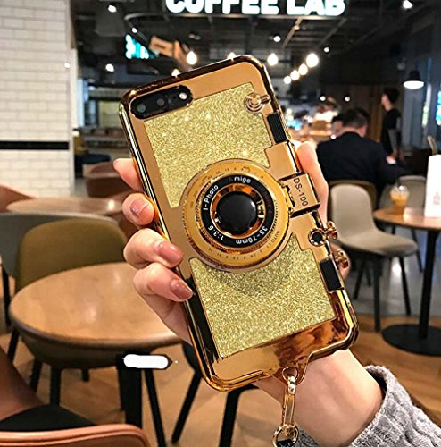 UCLL iphone 7 plus case iphone 8 plus New Modern 3D Vintage Style Bling Camera Design Soft Cover For 5.5 iphone 7plus/iphone 8 Plus with Strap Rope and a Screen protector (gold)