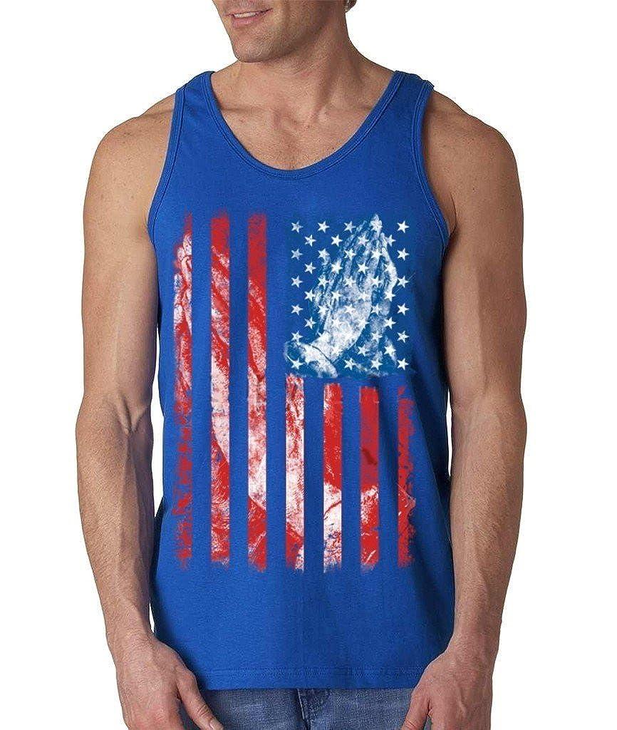 ARTIX A USA Flag Praying Hands Mens Tank Top Patriot 4th Of July Tank Tops