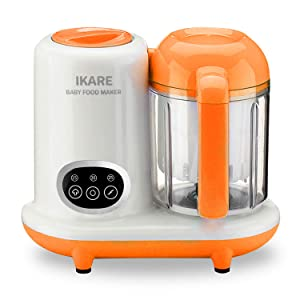 IKARE Baby Food Maker, Infant Feeding Blender Puree Processor Grinder Steamer, Cook & Blend Healthy Homemade Baby Food in Minutes, 25 Oz Tritan Stirring Cup, Touch Control Panel, Auto Shut-Off