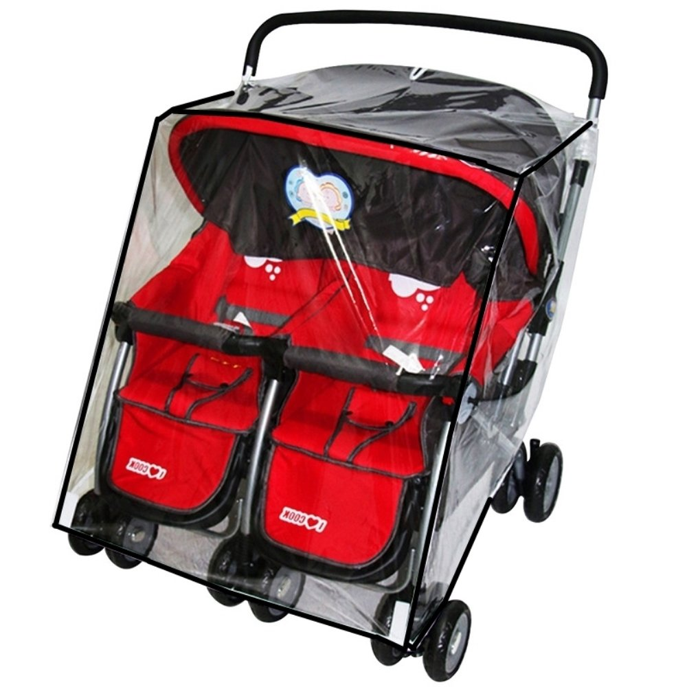 KarleksLiv Universal Waterproof Twins Baby Stroller Rain Cover Side Side Double Pushchair dust Proof Cover Baby Carriage Pram Accessories Stroller Raincover Ltd.