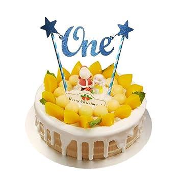 Feliz cumpleaños 1st Cake Topper Glitter One Pajitas de ...