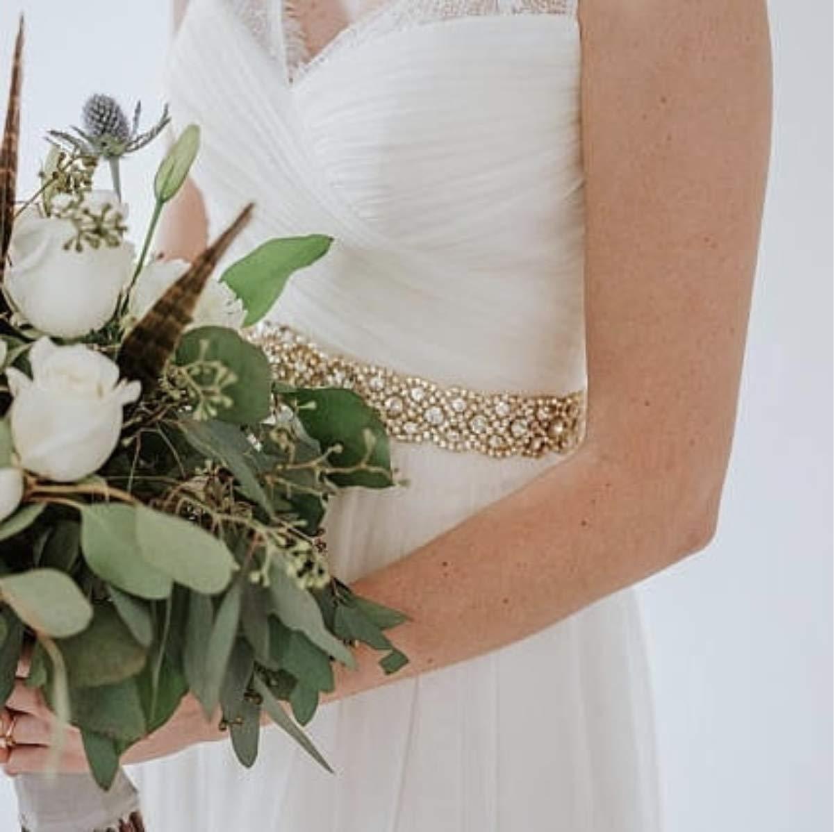 Crystal Rhinestone Braided Wedding Belt-Silver Crystal Beaded ...