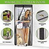 Magnetic Screen Door, VDEALEN Door Mesh Fly Mosquito Curtain with Magnets & Full Frame Tapes,Full Frame Hook & Loop, Hands Free, Fits Door Size up to 34'-82' Max (Screen Door Size 35' X 83', Black)