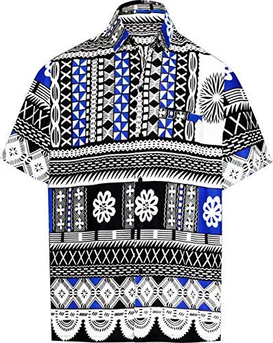 (LA LEELA Likre Soft Silk Print Pocket Shirt Royal Blue 375 2XL |Chest 54