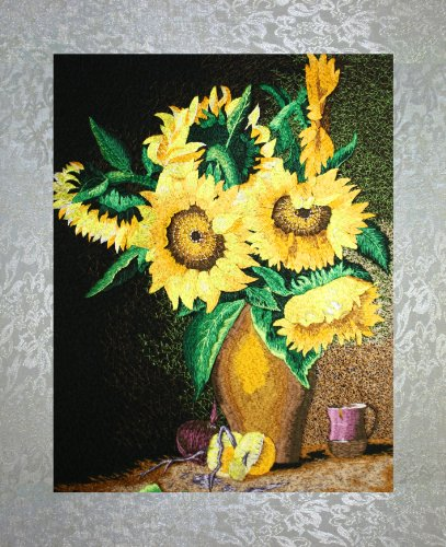 - PEA Designs, Sunflowers in Vase Wall Décor, Chinese Su Embroidery Pattern, Timeless Wall Hanging Artwork, Elegant Needlepoint Tapestry, Traditional Flower Wall Art for Room Decoration, Unique Housewarming Gift Idea, 20-3/64