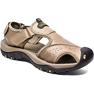 #17 Mens Leather Sandals Outdoor Hiking Sports Sandals Lightweight Athletic Sandals Fisherman Beach Shoes Anti-Slip