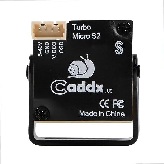 HankerMall Mini FPV cámara Caddx Turbo Micro S2 4: 3 600TVL Turbo Eye Lente 1,8 mm PAL CCD Sensor Fly OSD DC 5-40V para FPV Quadcopter Racing Drone: ...
