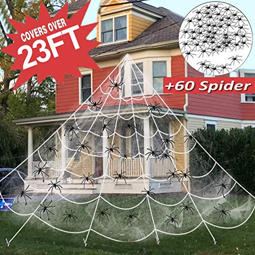 23FT Halloween Decorations Outdoor Giant Spider Web with Large Spider Web+20 Pcs Fake Plastic Spiders+5 Ground Stakes+200 sq ft Stretch Cobweb Decor Home Yard Halloween Scary Party Supplies Props