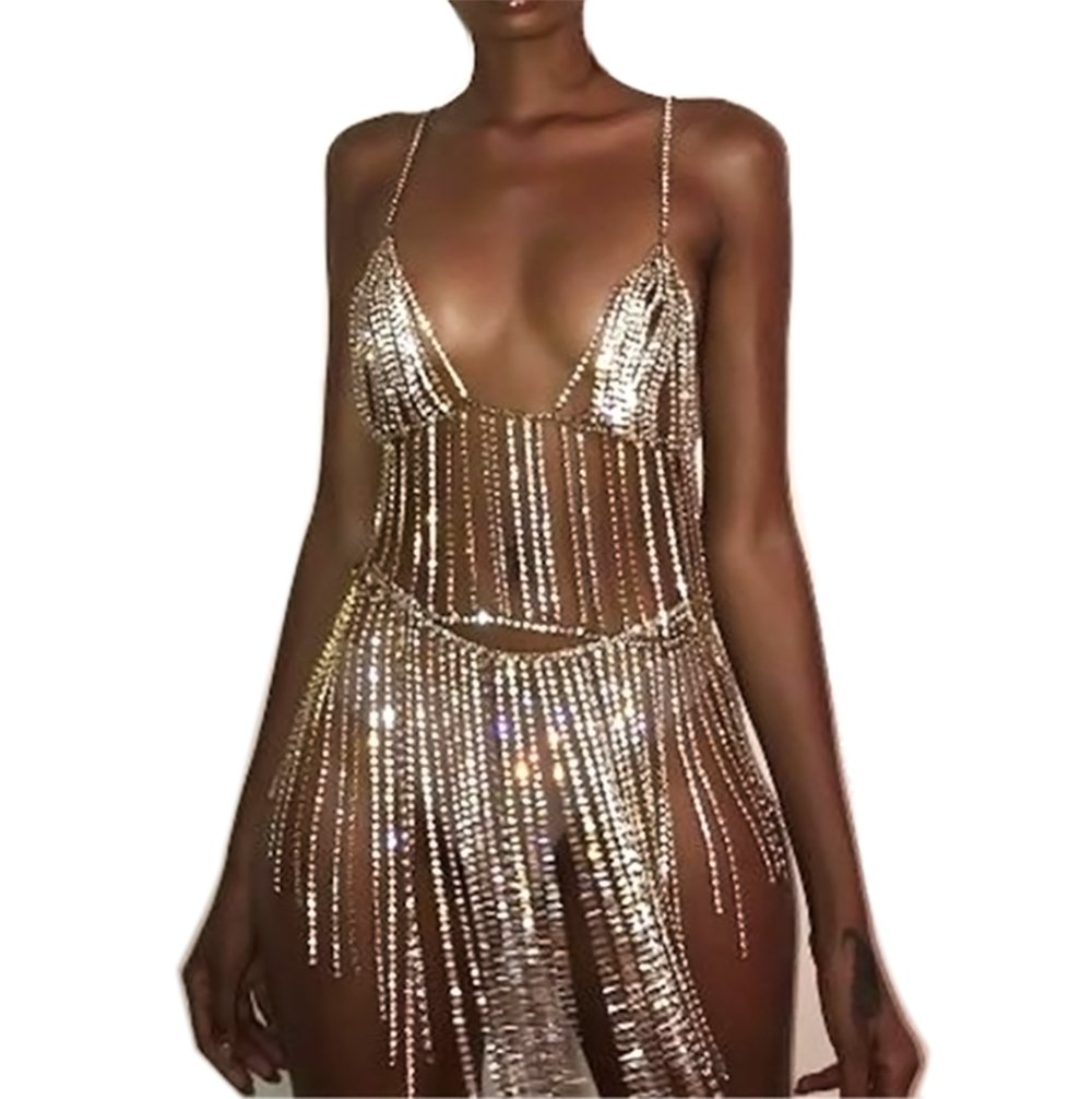 KimYoung Sexy Body Chain Sets Women Gold Bra Chain and Skirt Belly Chain Sets Nightclub Party Bikini Beach Waist Body Chain Jewelry