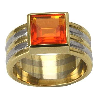 0b0a38ee87c6 Fuego Opal Anillo Oro Oro herrero trabajo (Oro Amarillo oro blanco 750) -  fuego Opal 9 x 9 mm Con Expertise  Amazon.es  Joyería