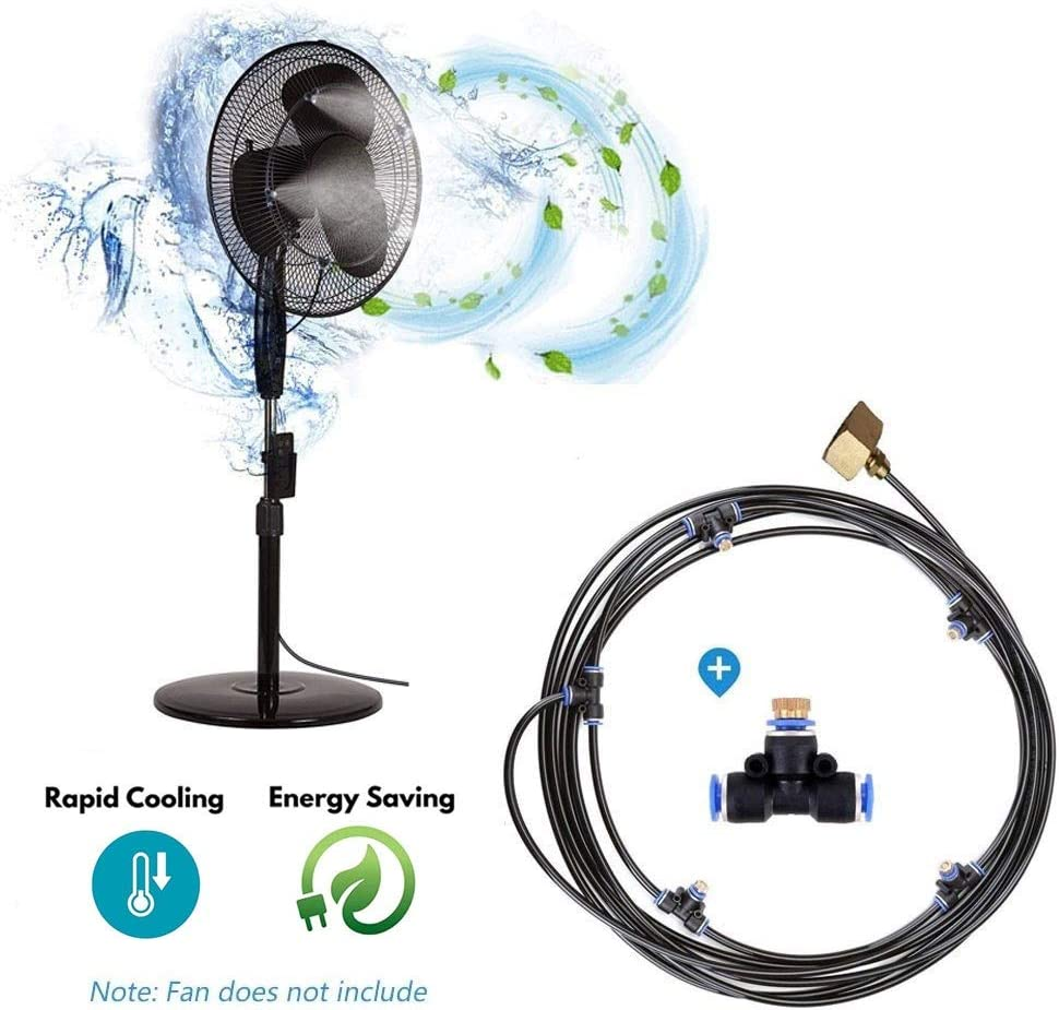 Outdoor Fan Misting Kit for Garden Patio, Water Mister Mist Cooling System Misting System with 4pcs Mist Nozzle, Turns Heat Down by 20°C, Connects to Any Outdoor Fan, 16.4FT(5M)