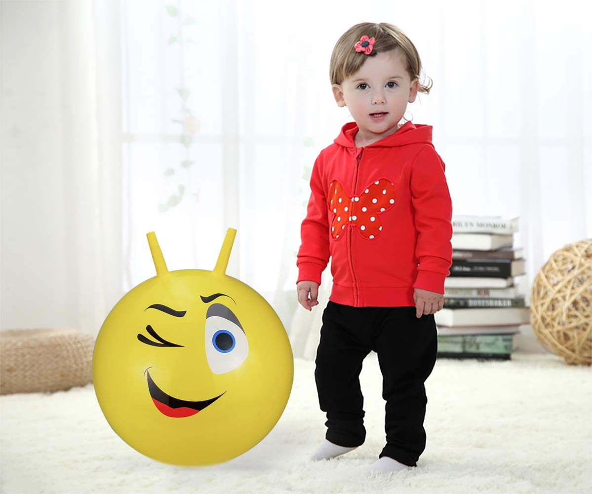 Jumping Ball 22 Inches Hippity Hop Ball for Kids Pump Included Hopping Ball Sit and Bounce Space Hopper Ball Kangaroo Bouncer Bouncy Ball with Handles