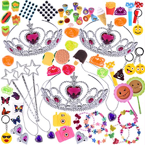 FUN LITTLE TOYS Girls Princess Party Favors Jewelries Assortment Children Toy Box for Birthday Party Supply, Goodie Bag, Pinata, Carnival Prizes 100 PCs ()