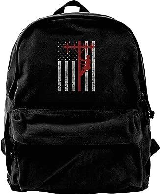 NJIASGFUI Mochila de lona con la bandera de los Estados Unidos Lineman Lineworker para gimnasio, senderismo, laptop, bolsa de hombro para hombres y mujeres