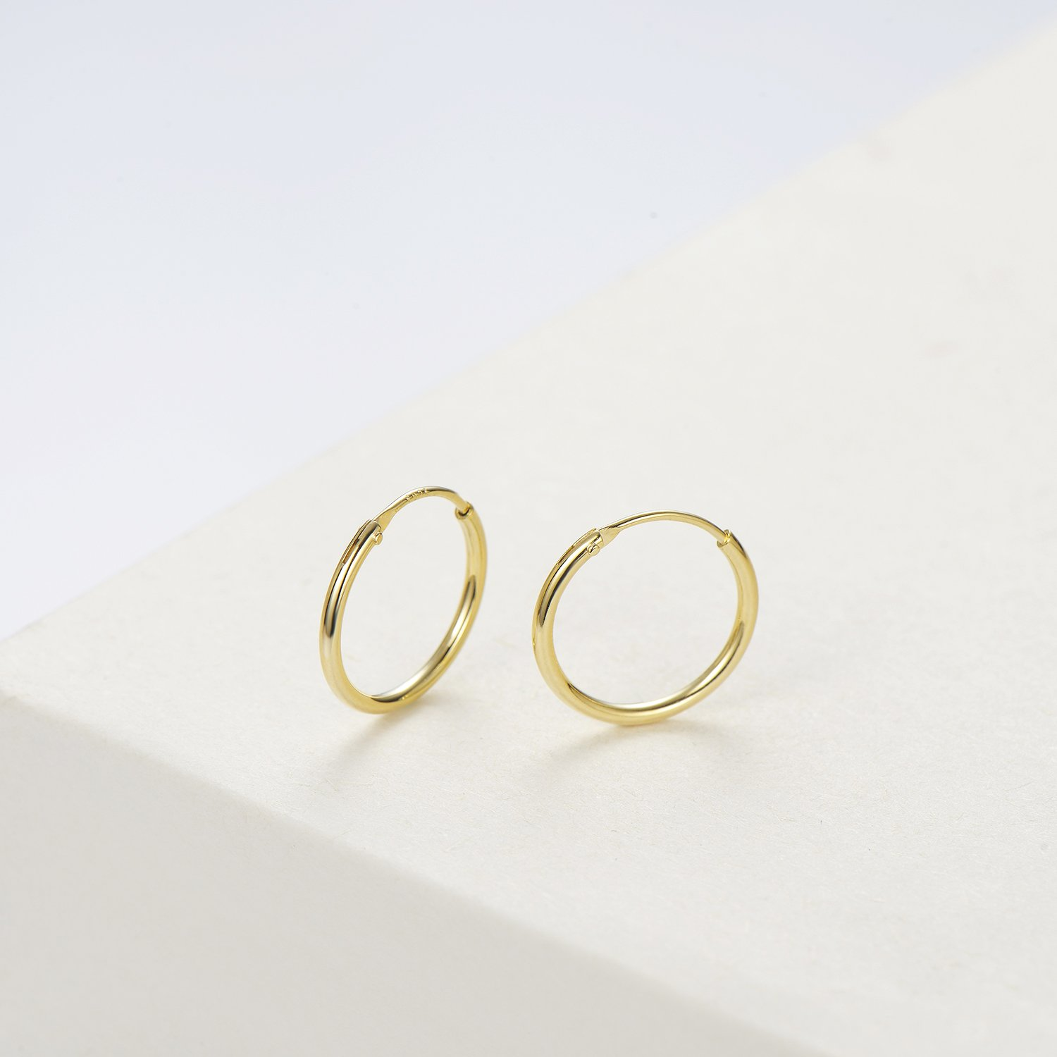 Carleen 14K Yellow Gold Plated 925 Sterling Silver Dainty Endless Hoop Earrings for Women Girls (13mm) by Carleen (Image #1)