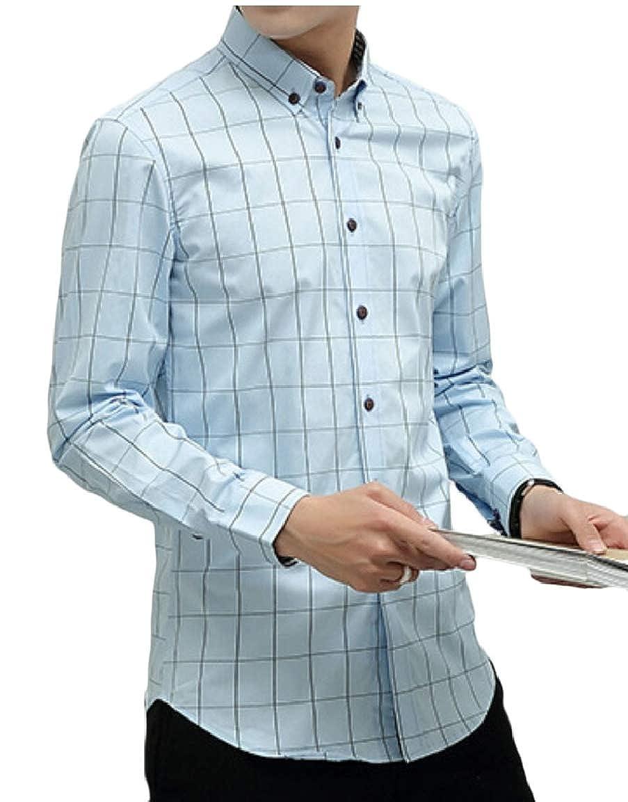Qiangjinjiu Men Slim Fit Long Sleeves Plaid Cotton Button Down Casual Tops Dress Shirts