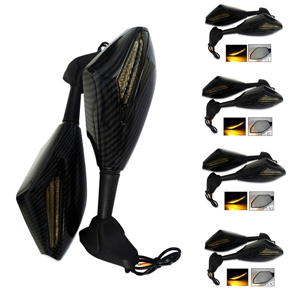 171 N3 Dolity Specchietto Laterale Retrovisione Regolabile LED Indicatore Integrato Per Honda Yamaha Kawasaki