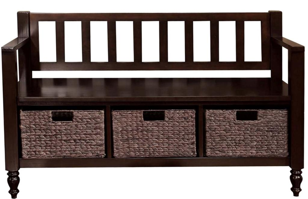 Simpli Home Dakota Entryway Storage Bench W 3 Hyacinth Baskets Dark Brown Kitchen