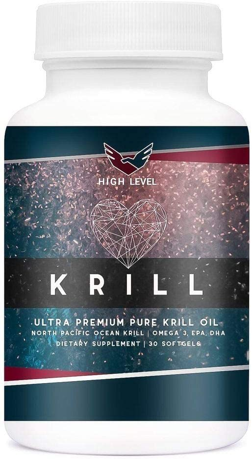 High Level Krill Oil | Ultra Premium Pure North Pacific Ocean Krill Oil with Omega-3, EPA, DHA - 30 Soft Gels - 500mg
