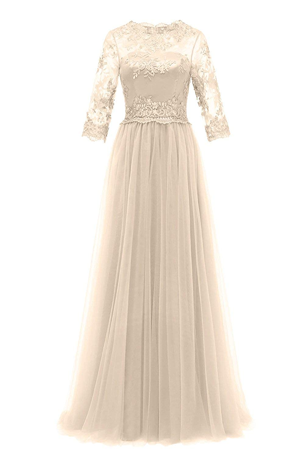 Champagen Evening Dresses Long Sleeve Lace Formal Prom Gowns Mother of The Bride Dress