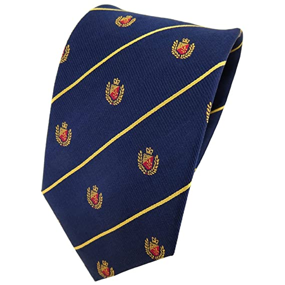 TigerTie diseñador corbata de seda - azul oscuro oro rojo rayas ...