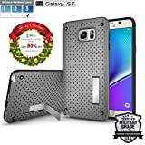Samsung S7 Case Ultimate Shock-Absorb and PC+TPU Material heat radiation phone case with Metal Kickstand-Extreme Hard Series [Samsung S7 (Heat Radiation with Kickstand-Silver Gray)]