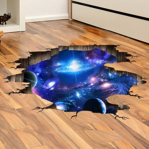 Provone Blue Purple Galaxy Wall Decals , Removable Sticker,The Art Magic 3D Home Decor (A Blue Purple Galaxy)