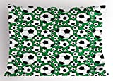 Ambesonne Soccer Pillow Sham, Various Sizes Footballs Pattern Active Lifestyle Popular Sport from Europe, Decorative Standard Size Printed Pillowcase, 26 X 20 Inches, Green Black White
