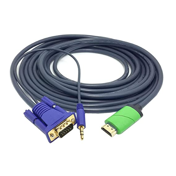 ANYA HD Conversion Cable HDMI Male to VGA Male with 3.5mm Audio Cable HDMI to