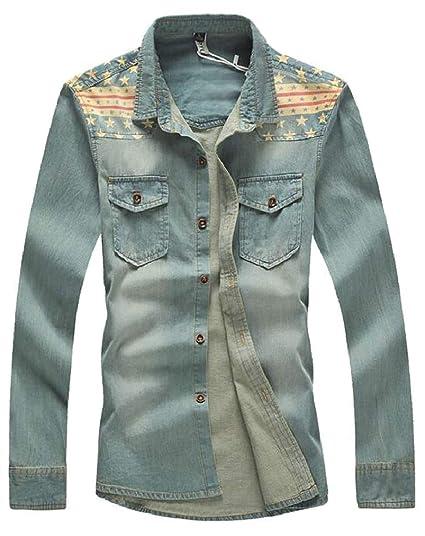 fafcc673cc4 Ptyhk RG Men s Rugged Wear Basic Slim Washed Button Down Denim Shirt ...