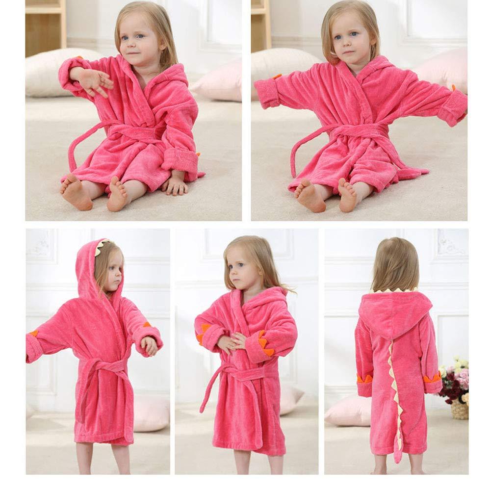 Girls Bathrobes,Toddler Kids Robe,Childrens Dinosaur Hooded Cotton Towel Robes for Kids Girls