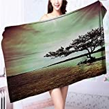 Luxury Bath Sheet Lonely Tree Scene College List One of a Kind Machine Washable Silky Satin Use for Sports, Travel, Fitness, Yoga L39.4 x W19.7 INCH