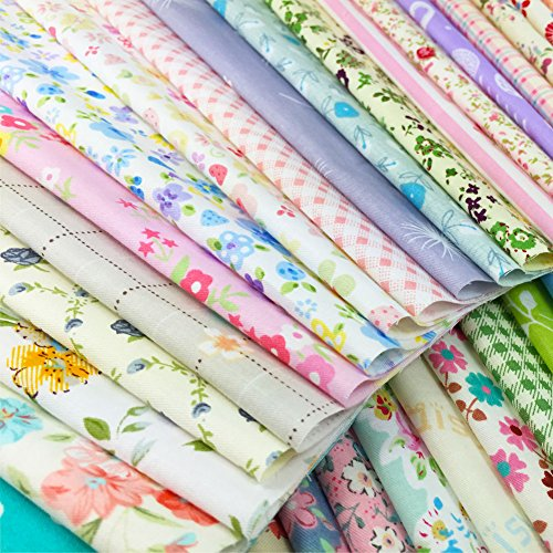 flic-flac Quilting Fabric Squares 100% Cotton Precut Quilt Sewing Floral Fabrics for Craft DIY (10 x 10 inches, 60pcs) (100 Cotton Flannel Fabric By The Yard)