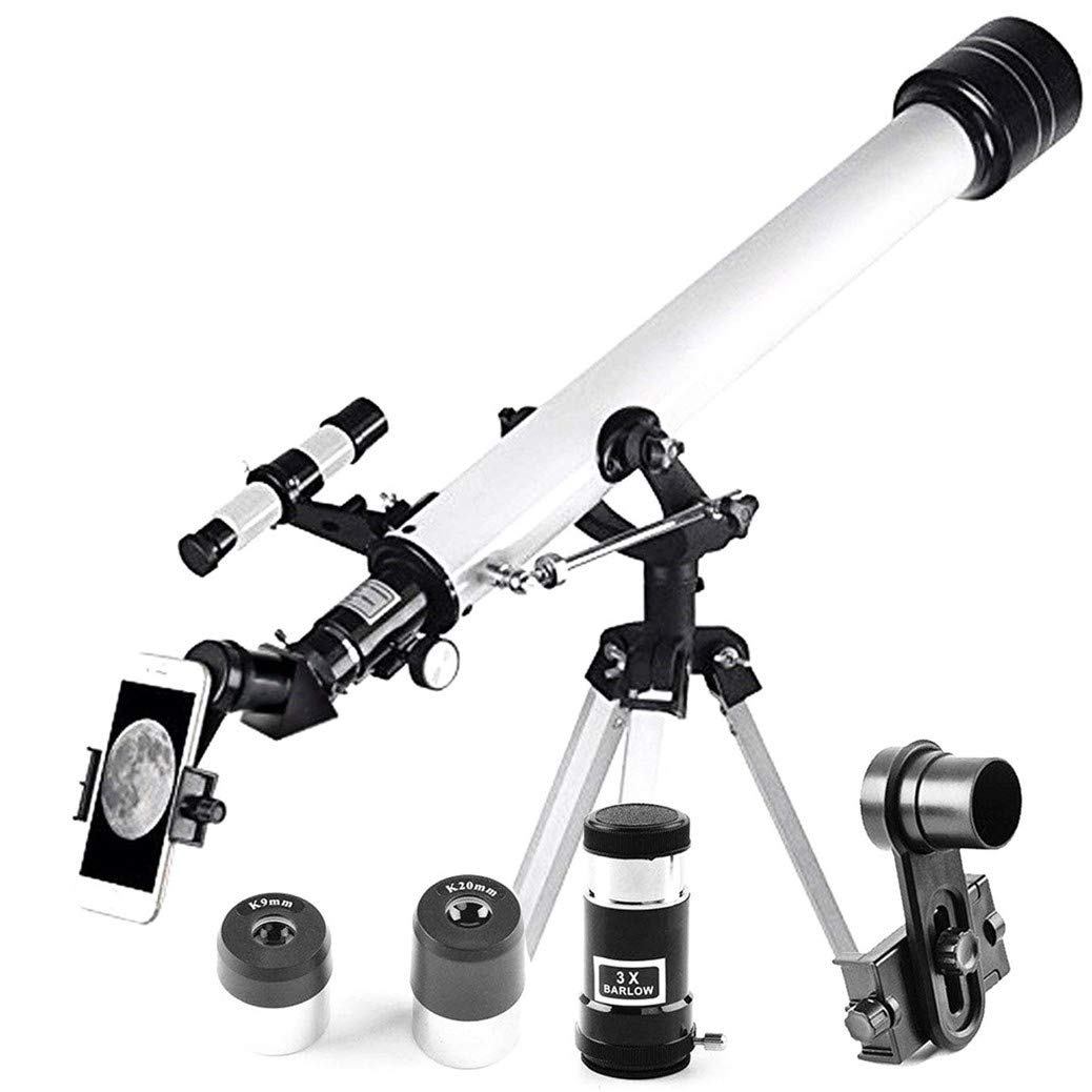 JingleStar 60mm Aperture AZ Astronomical Telescope 60x700mm Refractor Travel Scope for Beginners Students Children Kids- with Tripod and 10mm Eyepiece Smartphone Adapter - Get The World Into Screen by JingleStar