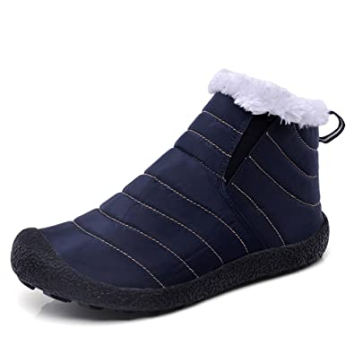 dc74e849241 ALEADER Women s Waterproof Fur Lined Winter Boots Casual Warm Ankle Snow  Boots Navy 8 UK