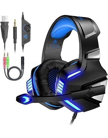 Auriculares Gaming Cascos PS4 con Micrófono Plegable, Sonido Envolvente, Luz LED,