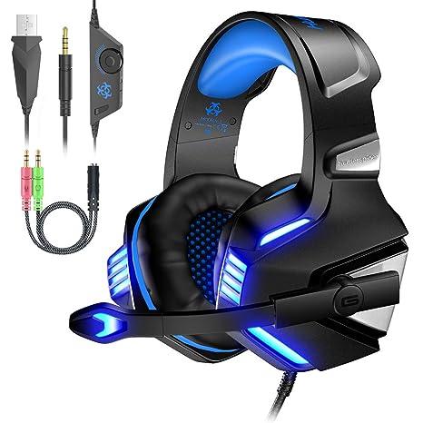 VersionTECH. Auriculares Gaming Cascos PS4 con Micrófono Plegable, Sonido Envolvente, Luz LED, Control de Volumen, Cancelación de Ruido, Diadema ...