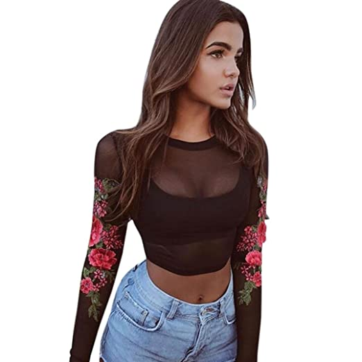 54a1d88f2b9 Women Appliques Rose Long Sleeves Sheer Mesh Crop Tops Shirt (S, Black)
