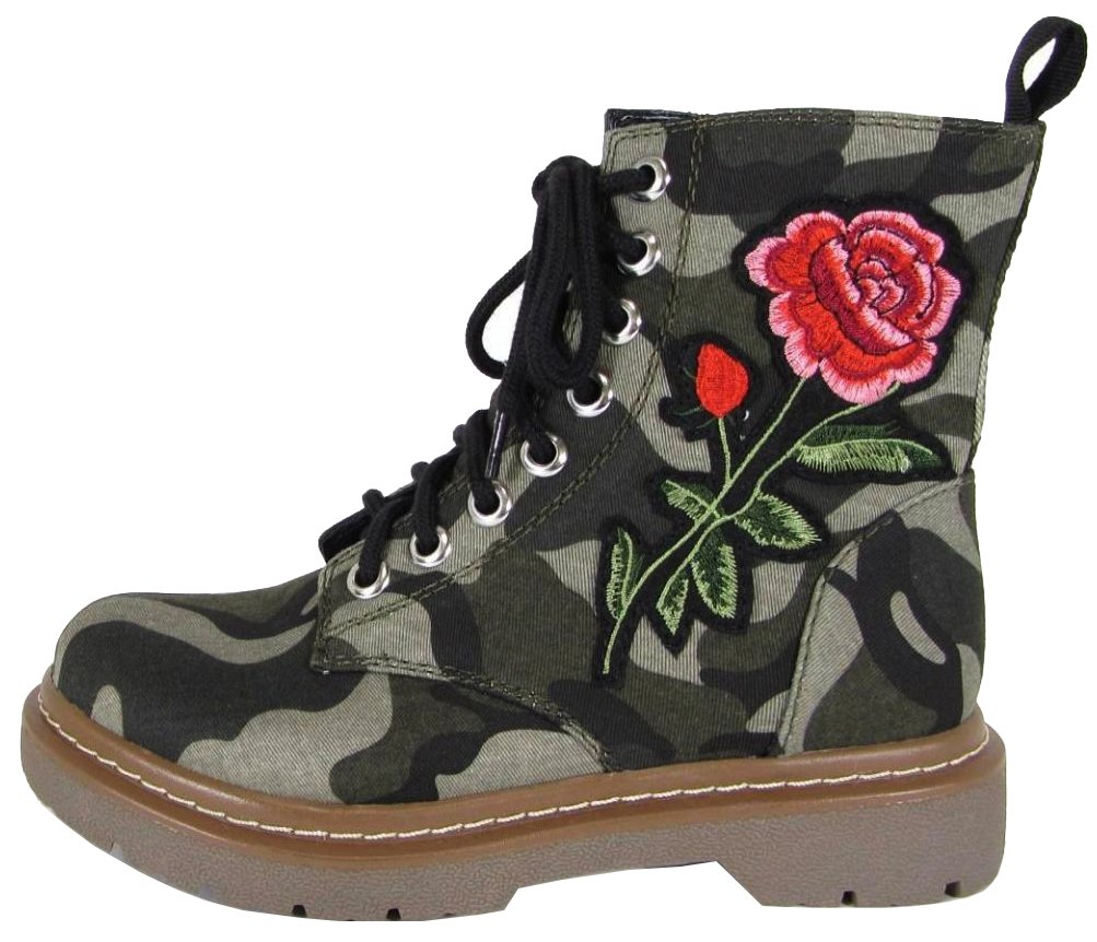 Soda Women's Rose EmbroideCamouflage Military Boot, Camouflage, 85 M US