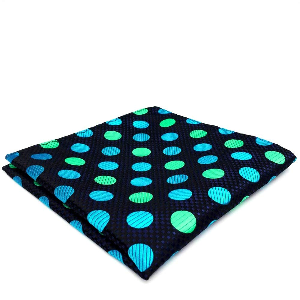Shlax& Wing Mens Pocket Square Polka Dots Navy Blue Green Silk Hanky 12.6 YH18