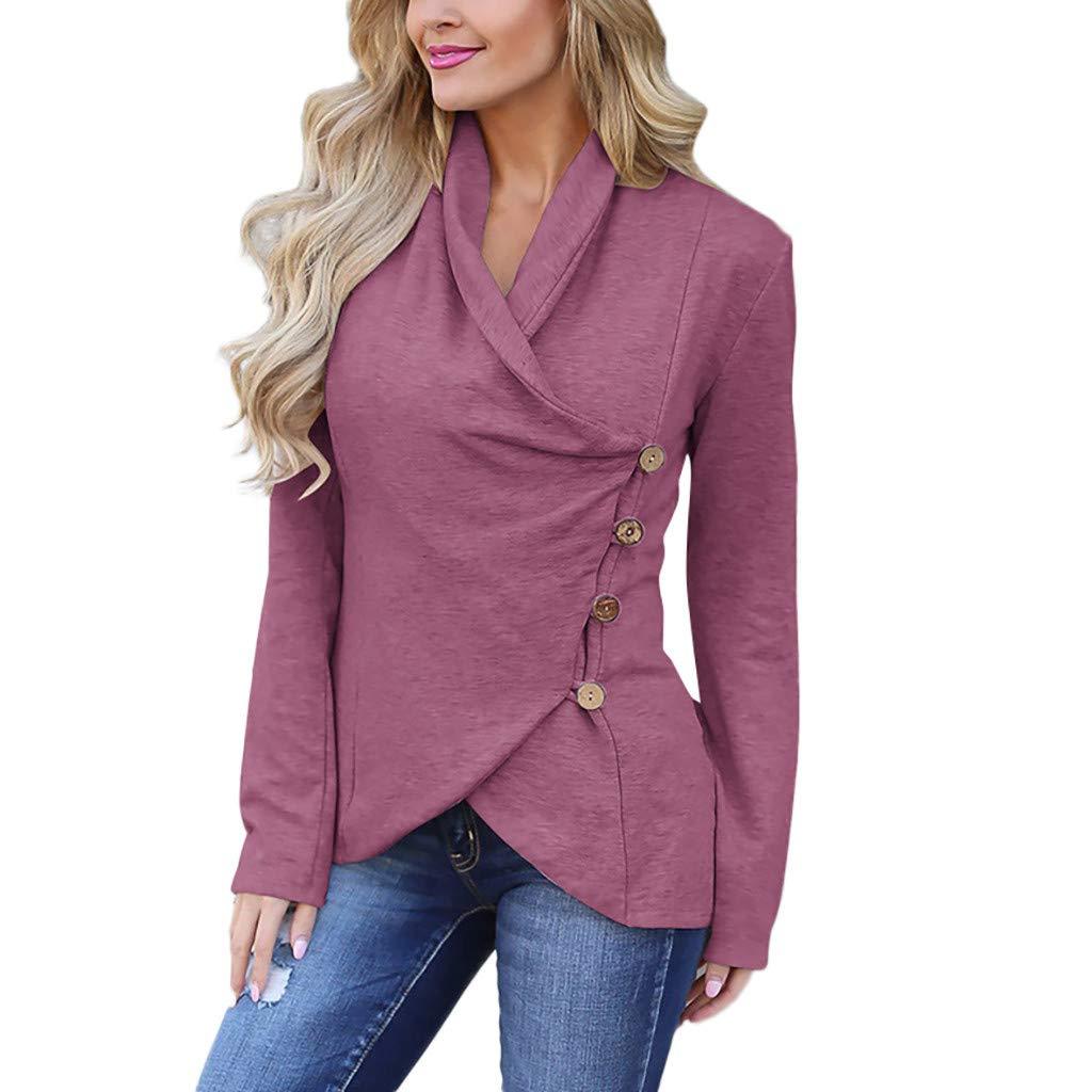 MISYAA Cardigans for Women Button Down Oblique Irregular Jacket Long Sleeve Solid Shirt Spring Outwear Womens Tops Purple