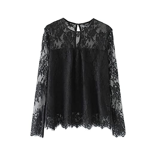 3cb79812a1f Image Unavailable. Image not available for. Color  Kangma Women Vintage  Transparent Lace Shirt Long Sleeve O-Neck Blouse Ladies Tops Black