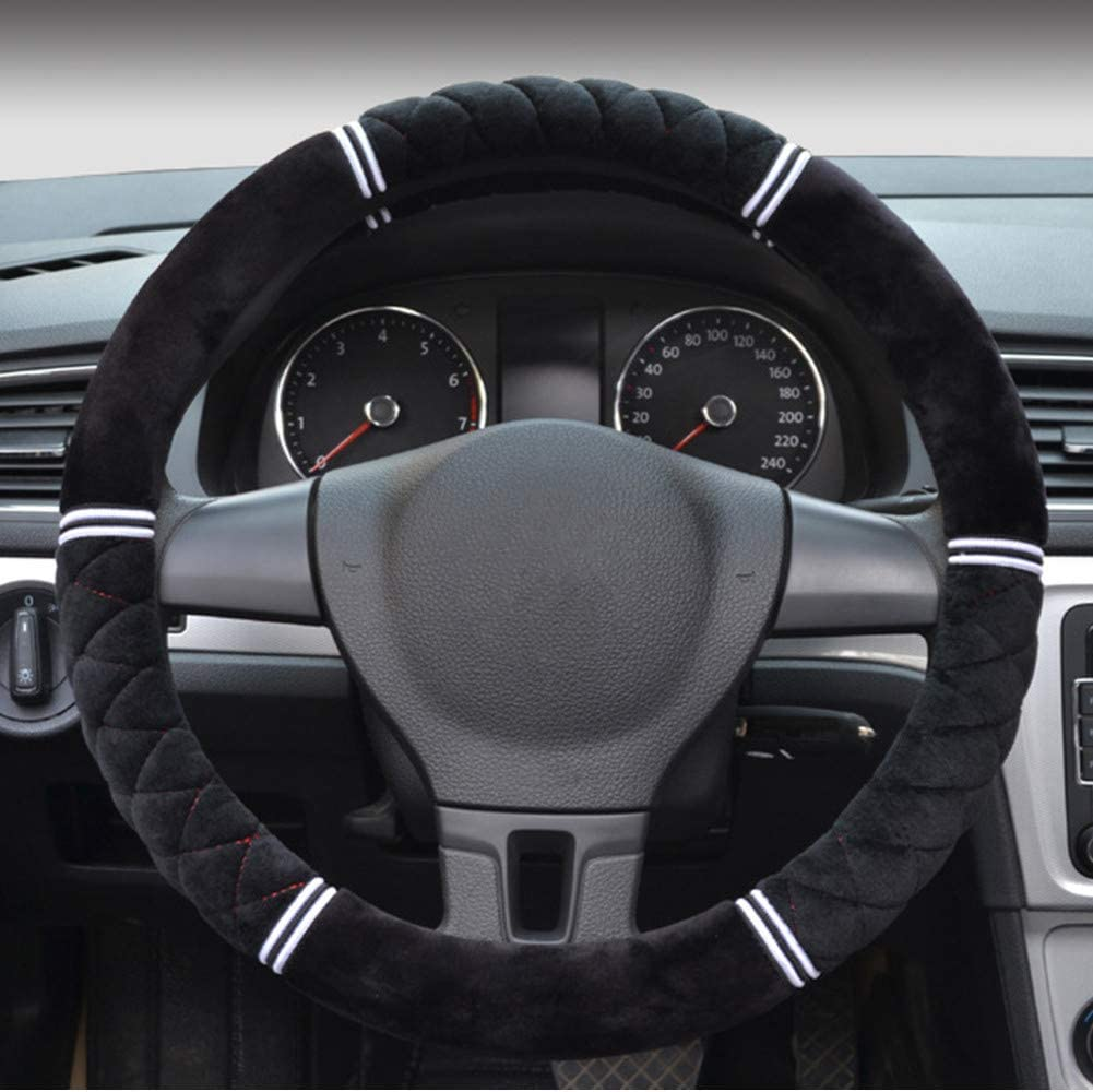 Proumhang Non-Slip Steering Wheel Cover Short Plush Winter Warm Soft 38cm//15inch Black