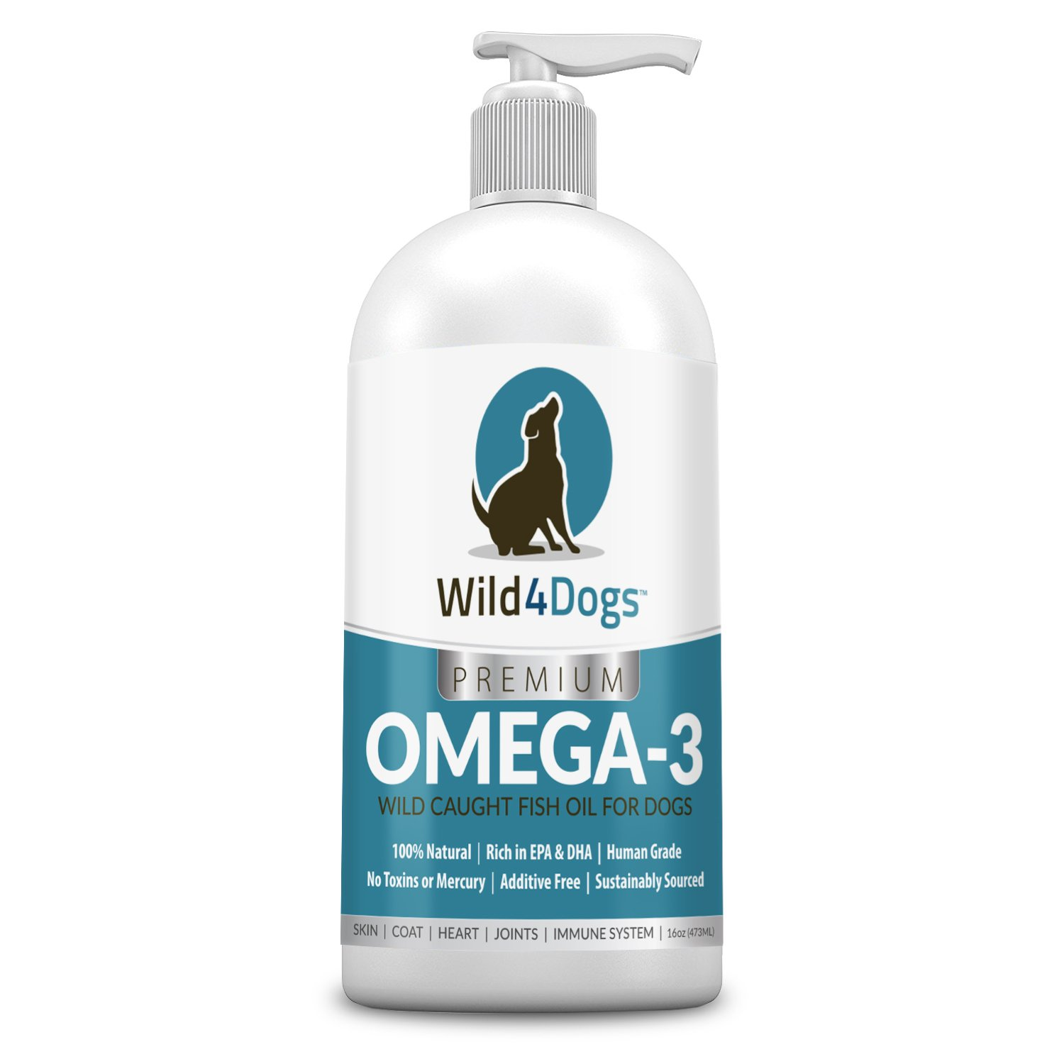Premium Omega 3 Fish Oil for Dogs - Promotes Healthy Coat, Skin, Heart, and Eases Joint Pain - Omega 3 for Dogs is All-Natural, Nutrient Rich, Wild Caught - Dog Fish Oil Supplement, 16 fl oz by Wild 4 Dogs
