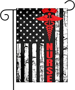 Patriotic American USA Flag Registered Nurse Garden Flag 12''X18 Family Decorative Xmas Welcome Banner Outside Yard Mailbox Festival Colours Ornaments House Decoration