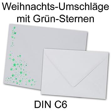 Sobres DIN C6, 162 x 115 mm, color blanco con verde metálico de caseta de estrellas, naßklebung, color Weiss / Grün C6: Amazon.es: Oficina y papelería