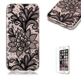 """For iPhone 6 Plus 5.5"""" Case [with Free Screen Protector],Funyye Soft TPU Gel Case Cute Simple [Colorful Painting Pattern] Ultra Slim Flexible Protective Skin Back Cover for iPhone 6 Plus 5.5"""" - Black Flower"""