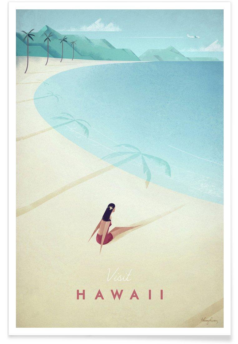 """- Poster Format : Portrait Design /""""Hawaii/"""" Tirages dart /& Tableaux par des artistes ind/épendants cr/é/é par Henry Rivers JUNIQE/® Affiche 20x30cm R/étro Voyages"""