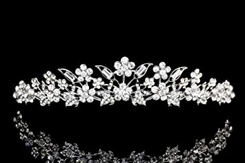 Bridal Floral Rhinestone Crystal Prom Wedding Tiara Crown T975